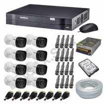 Kit Cftv Intelbras Hdcvi 720p 8câmeras+dvr8+hd1tb+cabo+fonte