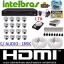 Kit 16 Cameras Infra Dome Sony Dvr 16 Canais Intelbras Hd 1t