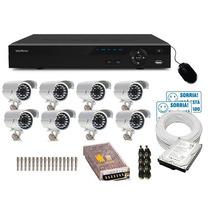 Kit Cftv 8 Cameras Infra Ccd Sony Dvr 16 Canais Intelbras Hd