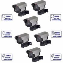 Kit 6 Câmeras De Monitoramento Falsa Com Led- Residencial