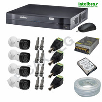 Kit 4 Camera Hdcvi 720p Dvr 4 Ch Intelbras Hdcvi 1004 Hd 1 T