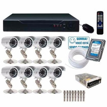 Kit Cftv 8 Cam Infra Verm.1500l Hd 500gb Dvr Compl. Cod1260