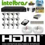 Kit Cftv Dvr16 Intelbras+hd+12cameras Infra 1000l+fonte+cabo