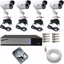 Sistema Monitoramento Residencial 4 Câmeras Dvr Luxvision