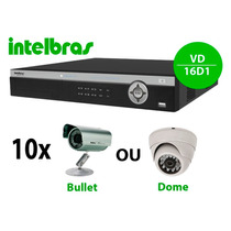Kit Dvr Vd16 Full D1 Intelbras+10 Câmeras Ccd 1/3 + Hd 2tb