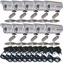 Kit 10 Câmeras Monitoramento Residencial Cftv + 10 Fontes