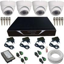 Sistema 4 Câmera Dome Completo P/ Instalação Acesso Remoto