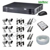 Kit Cftv 8 Câm. Canhão Infra Ccd Sony Dvr 8 Ch Intelbras Hd