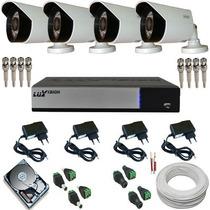 Kit Vigilância Residencial Comercial 04 Câmeras Ahd 1 Mp P2p