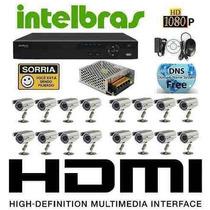 Kit Cftv 16 Câmeras Infra , Dvr Intelbras Mod. Vd3116 16ch