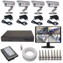 Kit Circuito Fechado Tv 4 Câmeras Com Gravador E Monitor