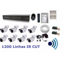Kit Cftv 8 Cam Infra Ir-cut Hd 1tb Dvr 16 Canais + Audio