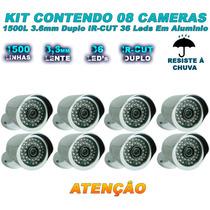 Kit 08 Câmera Infravermelho 1500 Linhas Filtro Ir Cut 50 Mts