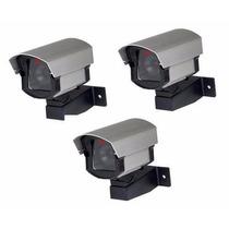Kit 3 Micro Câmeras Falsas Com Led + 3 Placas De Aviso