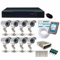 Kit Cftv 8 Cameras Infra Vermelho 600l Sony Hd 1tb Dvr H.264
