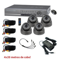 Kit Cftv Dvr Standalone 4 Canais + 4 Câmeras Day/night