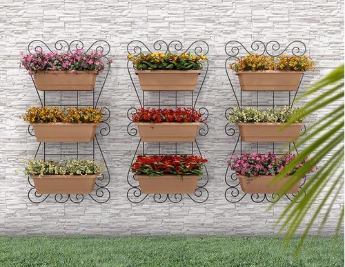 mini jardim vertical:Kit Painel Jardim Vertical Suspenso 100x50cm Horta Olilo