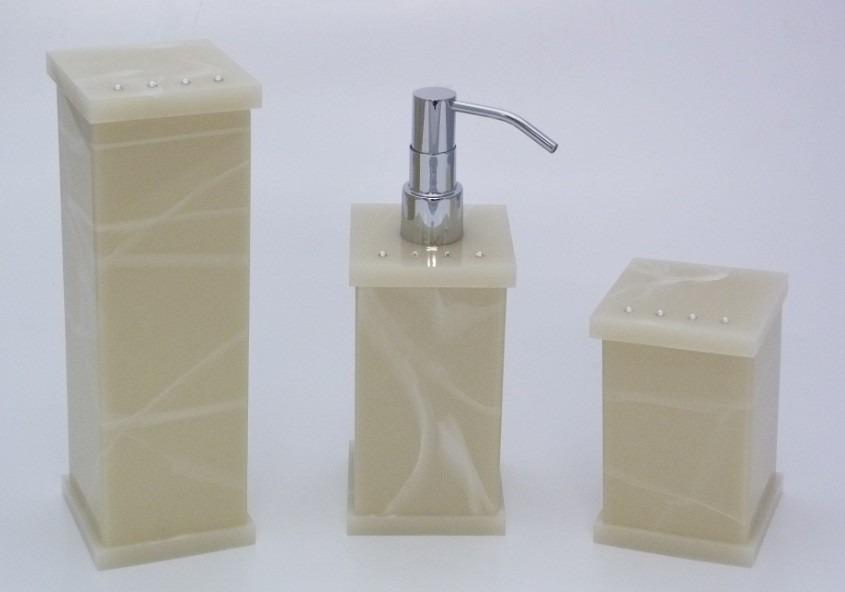Kit Banheiro Acrilico Strass : Kit potes p banheiro acr?lico bege marmorizado com strass