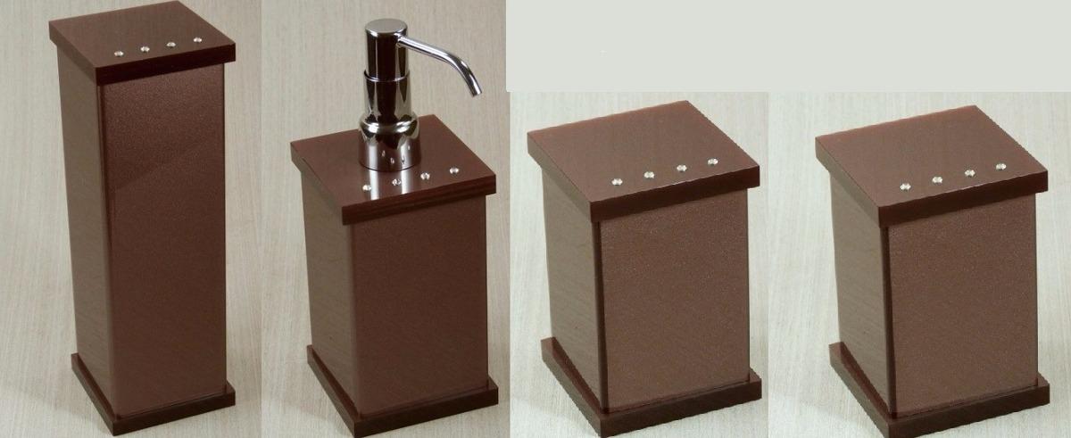 Kit Banheiro Acrilico Strass : Kit potes p banheiro acr?lico c strass chocolate