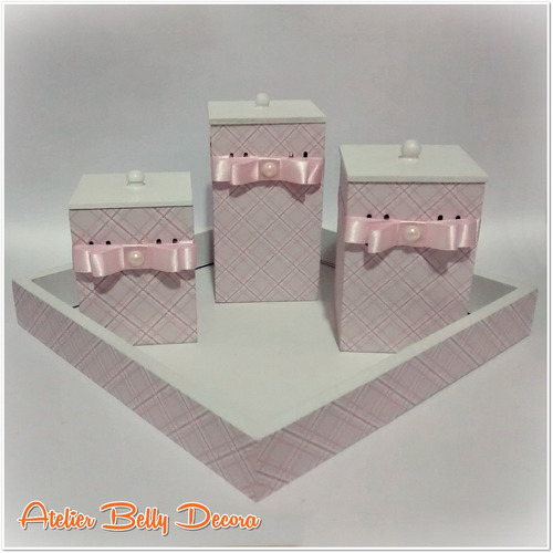 kit quarto bebê higiene banho mdf decorado 3 potes 1 bandeja -> Kit Banheiro Mdf Decorado