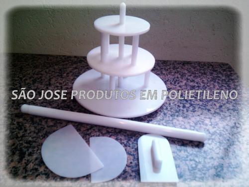Kit - Suporte De Bolo + Utencilios Para Pasta Americana