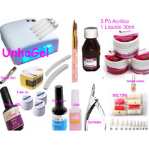 Unhas Gel Kit Cabine Uv 36w Uv Primer Porcela Acrygel 220v