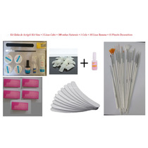 Kit Unha Acrigel Completo Gel Uv Tips Cola Pincel Manicure