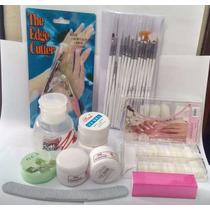 Kit Manicure Unha Postiça Acrigel Alicate Lixa Gel Pincel
