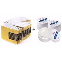 Kit 100 Moldes Adesivos P/ Unhas Gel Alongamento + 1 Gel Uv