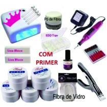 Kit Unha Gel Acrigel + Cabine + Lixa + Kit Pó De Fibra Vidro