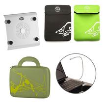 Kit Suporte Notebook Cooler + Pasta + Capa 10´ + Luminária