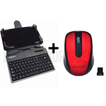 Kit Capa Case Teclado Usb + Mouse Sem Fio - Tablet 7