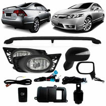 Kit New Civic Si 2009 A 2011 Aerofolio Kit Milha Retrovisor