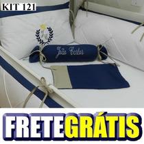 Kit Berço Personalizado 10 Pçs Provençal Azul Marinho Branco