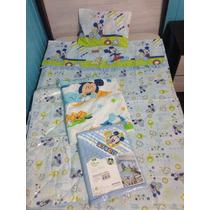Kit Bebê Mickey Baby Para Berço Azul Menino Disney Toalha
