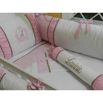 Kit Berço Personalizado 10 Pçs Provençal Rosa Onça C/ Marrom
