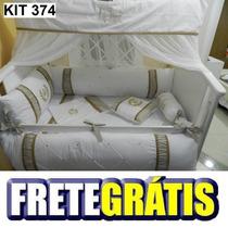 Kit Berço Personalizados 10 Pçs Provençal Luxo Bege Dourado