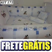 Kit Berço Personalizado 10pç Mickey Baby E Amigos Azul