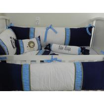 Kit Berço Personalizado 10pç Provençal Leão Azul Com Marrom