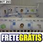 Kit Berço Personalizado 10 Pçs Safari Aplique Azul Retalhos