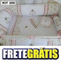 Kit Berço Personalizados 10 Pçs Princesa Rosa/marrom Floral