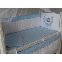 Protetor De Mini Berço Canaa Coroa Azul 7 Peças-100% Algodão