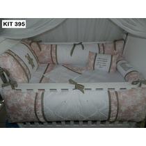 Kit Berço Personalizados 10 Pçs Provençal Luxo Urso Rosa