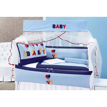 Kit Enxoval Para Berço Urso Baby Com 09 Peças 100% Algodão