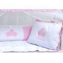 Kit Berço Americano Menina Princesa Rosa Coroa Baby 24horas