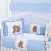 Kit Berço Padrão Americano Azul Ursinho Urso + Mosquiteiro