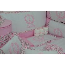 Kit De Berço Personalizado Rosa Com Flores 27 Peças - Lindo!