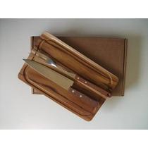 Kit Para Churrasco Em Madeira Teca 32x20cm (faca+garfo)