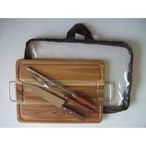 Kit Para Churrasco Em Madeira Teca 38x28cm (faca+garfo+chair