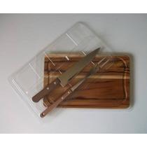 Kit Para Churrasco Em Madeira Teca 32x20cm (faca+garfo+embal